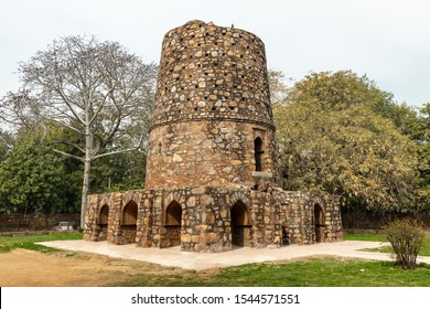 New Delhi, India - 12 Feb 2019 : The mysterious tower of Chor Minar, reputedly a 'tower of beheading', where the severed heads of thieves were displayed on spears through its 225 holes.