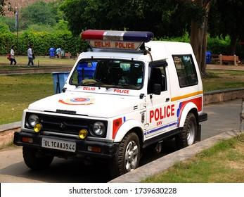 New Delhi, India - 18th September 2019: Police car on the street