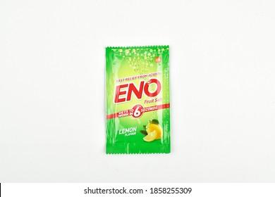 New Delhi - India - 20 November 2020- Eno sachet on white background, Eno antacid