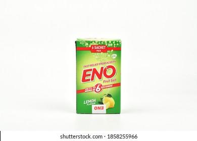New Delhi - India - 20 November 2020- Eno antacid packet on white background,