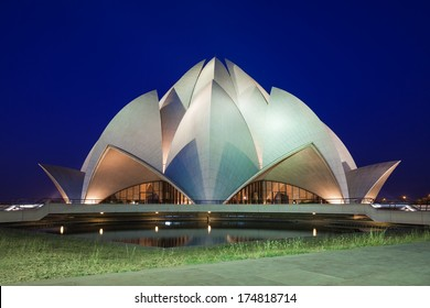 NEW DELHI, INDIA - APRIL 08: Lotus Temple on April 08, 2012, New Delhi, India. The Bahai House of Worship in New Delhi, popularly known as the Lotus Temple due to its flowerlike shape.
