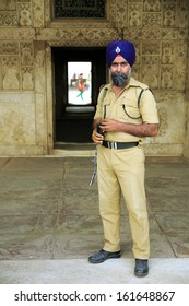 NEW DELHI, INDIA - APRIL, 2013: Indian sikh security at red fort