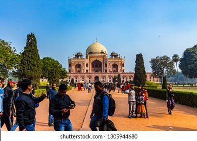 New Delhi, Delhi / India - April 25 2018: Royal views of the first garden-tombon the Indian subcontinent. The Tombis an excellent example of Persian architecture. Famous monument in Delhi.