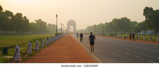 NEW DELHI, INDIA - April 26: Beautiful View in India gate  on April 26, 2019, New Delhi, India.