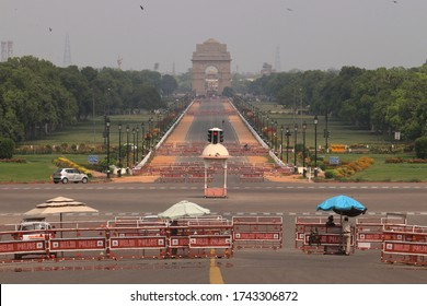 NEW DELHI, INDIA - APRIL 28, 2020: A view of the historical India Gate during the lock down to curb the spread of covid 19 pandemic