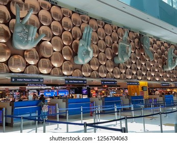New Delhi, India - April 8, 2017: Beautiful decoration of passenger arrival check-in counters at Indira Gandhi International Airport, shoot by mobile camera.