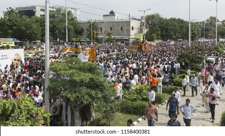 New Delhi, India – August 17, 2018 : People pay tribute to one of the most popular, dynamic and noted former prime minister of India and 'Bharat Ratna' Atal Bihari Vajpayee.