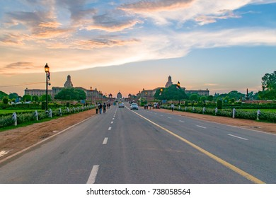 NEW DELHI, INDIA, AUGUST, 2017: Rajpath 'King's Way' is a ceremonial boulevard in Delhi that runs from Rashtrapati Bhavan on Raisina Hill through Vijay Chowk and India Gate to National Stadium, Delhi.