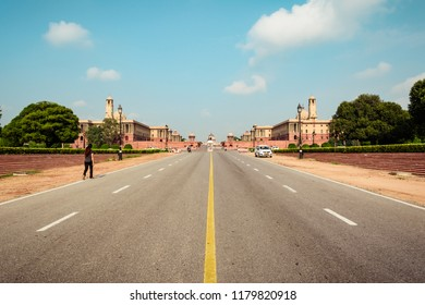 NEW DELHI, INDIA, AUGUST, 2018: Rajpath 'King's Way' is a ceremonial boulevard in Delhi that runs from Rashtrapati Bhavan on Raisina Hill through Vijay Chowk and India Gate to National Stadium, Delhi.