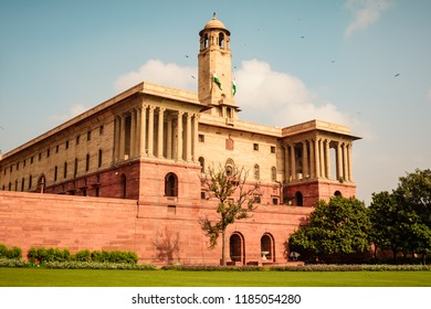 NEW DELHI, INDIA, AUGUST 2018: The North Block of the building ,Central Secretariat is where the Cabinet Secretariat is housed, which administers the Government of India on Raisina Hill.