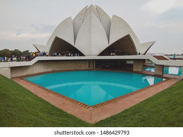 New Delhi, India - August 2019 : Bahai house of Worship popularly known as the Lotus Temple. One of the Iconic structure in Delhi.