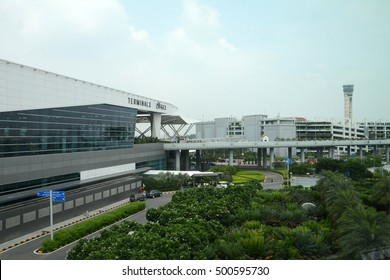 NEW DELHI, INDIA - AUGUST 30, 2016: Terminal 3 of Indira Gandhi International Airport. The airport serves as the primary civilian aviation hub for the National Capital Region of India.