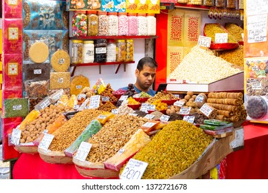 New Delhi, India, Dec 30 2019 - Colorful spices powders and herbs in traditional street market