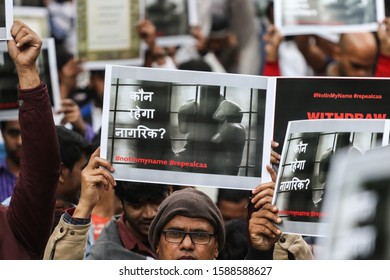 New Delhi, India, December 14, 2019 : Hundreds of protesters on Saturday took to streets in Delhi's Jantar Mantar against the recent amendments made to the Citizenship Act.
