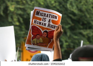 New Delhi, India, December 14, 2019 : Hundreds of protestors on Saturday took to streets in Delhi's Jantar Mantar against the recent amendments made to the Citizenship Act.