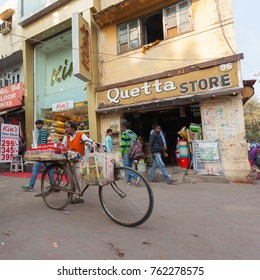 New Delhi / India - December 15 2016: Local market in Delhi.