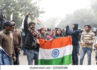 New Delhi, India, December 19, 2019 : Thousands of people gathered in Jantar Mantar in protest against the government over the Citizenship Amended Act (CAA).