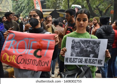 New Delhi, India - December 2019 : Indian people with posters, flags, graffitis are protesting against anti muslim controversial Citizenship Amendment Bill CAB, CAA, NRC, NPR at Jantar Mantar in Delhi