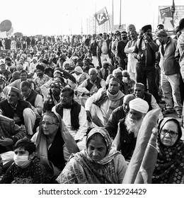 New Delhi, India – December 25 2020 : Indian Sikh and Hindu Farmers from Punjab, Uttar Pradesh and Uttarakhand states protests at Delhi-UP Border against new farmer laws – Black and White