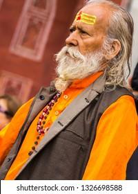 NEW DELHI - INDIA -Feb 14, 2019-Indian Sadu or holy man makes a