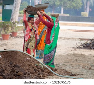 NEW DELHI - INDIA -Feb 5, 2019-Indian women dressed in colorful