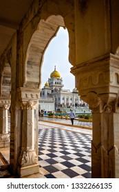 NEW DELHI- INDIA -Feb 6, 2019-Dramaic archways and checker-board