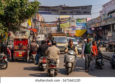 NEW DELHI, INDIA - feb 6th 2020: Busy Indian Street with people and traffic in New Delhi, India.