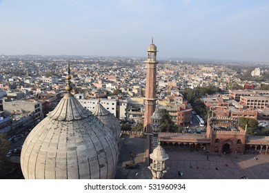 NEW DELHI, INDIA, FEBRUARY 02 - Breathtaking aerial view of old Delhi from a minar of Jama Masjid mosque on february 02, 2016 in New Delhi