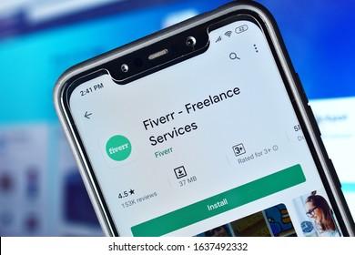 New Delhi, India - february 06, 2020: fiverr- freelance services, online jobs, platform for online freelance job