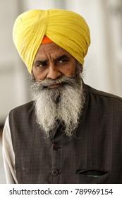 New Delhi, India - February 16, 2014: Old man visiting the Gurdwara Sikh Temple in Old Delhi