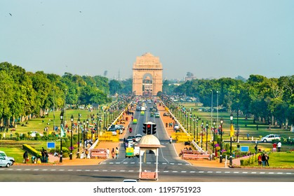 New Delhi, India - February 17, 2018: View of Rajpath ceremonial boulevard from the Secretariat Building towards the India Gate