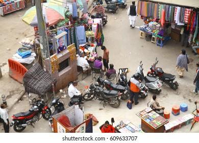 NEW DELHI, INDIA - February 17, 2017: View on Main Bazar - the backpacker-oriented bazar that runs through Paharganj, New Delhi, India
