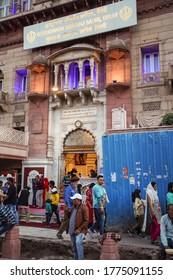 New Delhi / India - February 18, 2020: Facade of Gurudwara Sisganj Sahib Sikh temple in Delhi