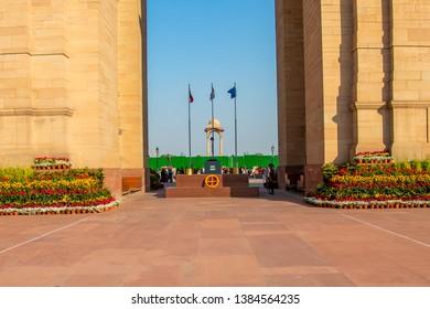 New Delhi, India - February , 2019. Amar Jawan Jyoti, memorial at India Gate in New Delhi.