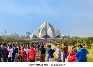 New Delhi, India - February 2019. The Lotus Temple, located in New Delhi, India, is a House of Worship completed in 1986. It serves as the Mother Temple of the Indian subcontinent