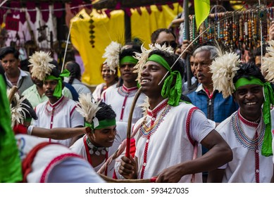 New Delhi, India - February 4, 2017: Tribals from the state of Jharkhand performing tribal dance at an event.