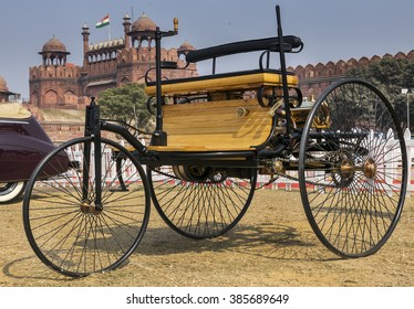 New Delhi, India - February 6, 2016: Benz Patent Motorwagen (or motorcar) 1886 worlds first petrol-fuelled automobile vehicle on display at Red Fort of New Delhi, India