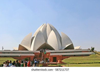 New Delhi, India - Feburary 24, 2017: The Lotus Temple Bahai House of Worship is built in the shape of a lotus flower and is the last of seven Major Bahai's temples built around the world.