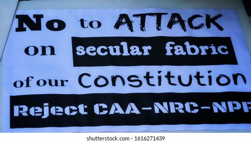 New Delhi, India January 2020 : Indian citizens with printed posters are protesting against anti muslim controversial citizenship amendment bill. Poster against the NRC, CAB, NPR and CAA at Delhi.