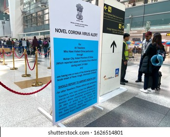 New Delhi, India - January 26, 2020: Sign at immigration in the Delhi Airport asking passengers who may have contracted Corona Virus to report to Health Unit. Concept for disease prevention