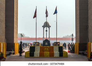 New Delhi, India, January 27, 2018 : Soldiers standing at AMAR JAWAN memorial at INDIA GATE at DELHI in INDIA.