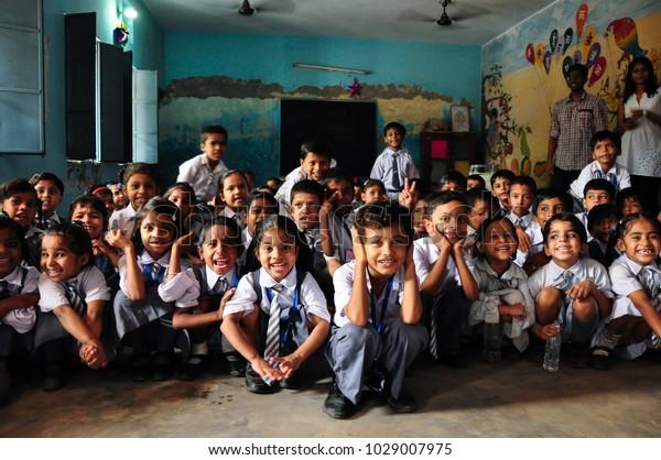 New Delhi, Delhi, India - July 20 2011: Happy and cheerful Indian school children