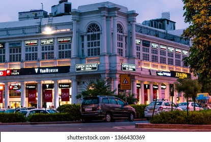 New Delhi, India - July 24, 2015 - Connaught Place is one of the largest financial, commercial and business centres in New Delhi.