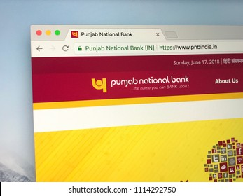 New Delhi, India - June 17, 2018: Website of Punjab National Bank (PNB) is an Indian multinational banking and financial services company.