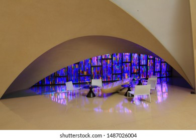 New Delhi, India - March 03 2014: A view of the beautiful lobby of the Roseate Hotel in New Delhi