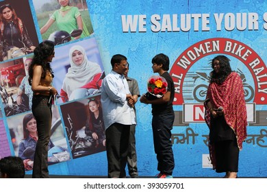 New Delhi, India - March 13, 2016: On the occasion of 4th All Women Bike Rally, Delhi chief minister Arvind Kejariwal encouraged the women participants.