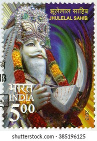 NEW DELHI, INDIA - MARCH 17, 2013: A stamp printed in India shows Jhulelal Sahib, Dariyalal or Zinda Pir