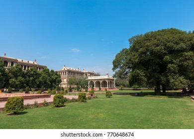 NEW DELHI, INDIA - MARCH 18, 2016: Wide angle picture of big tree and garden area inside Red Fort, landmark of New Delhi, located in India.
