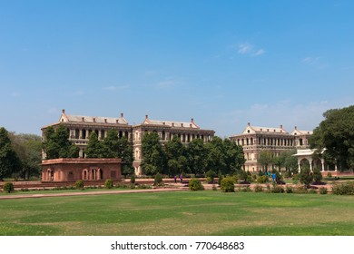 NEW DELHI, INDIA - MARCH 18, 2016: Wide angle picture of garden area and buildings inside Red Fort, landmark of New Delhi, located in India.