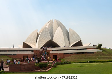 NEW DELHI, INDIA - MARCH 19, 2016: Horizontal picture of Lotus Temple, a Bahai House of Worship with flowerlike shape architecture in New Delhi, India.